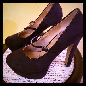 Velvet strap heels